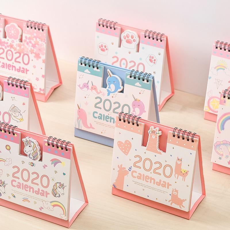 2019-2020 Cute Creative Cartoon Animal Cat 3D Desktop Paper Calendar Dual Daily Scheduler Table Planner Yearly Agenda Organizer