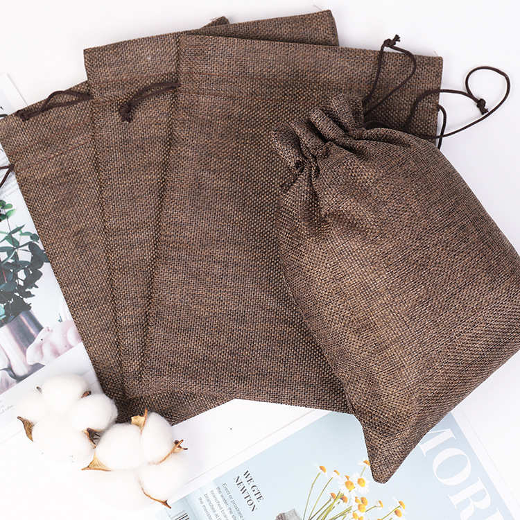 Handmade Linen Storage Package Bag Drawstring Bag Small Coin Purse Travel Women Small Cloth Bag Christmas Gift Pouch Decoration