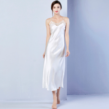 Natural Nightgowns Women100% Real Silk Nightdress Silk Nightwear Ladies  Sexy Lingerie  Sleepwear Female  White Long Night Dress
