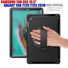 Coque de support hybride robuste, antichoc, coque arrière pour tablette Samsung Galaxy Tab S5E T720 T725, armure rotative à 360 °