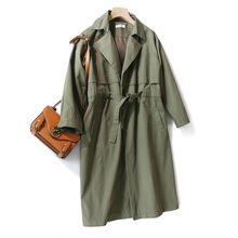 Shuchan Japan Style Trench Coat Women Clothes 2019 Autumn Fall Cotton Turn-down Collar  Adjustable Waist Wide-waisted Long