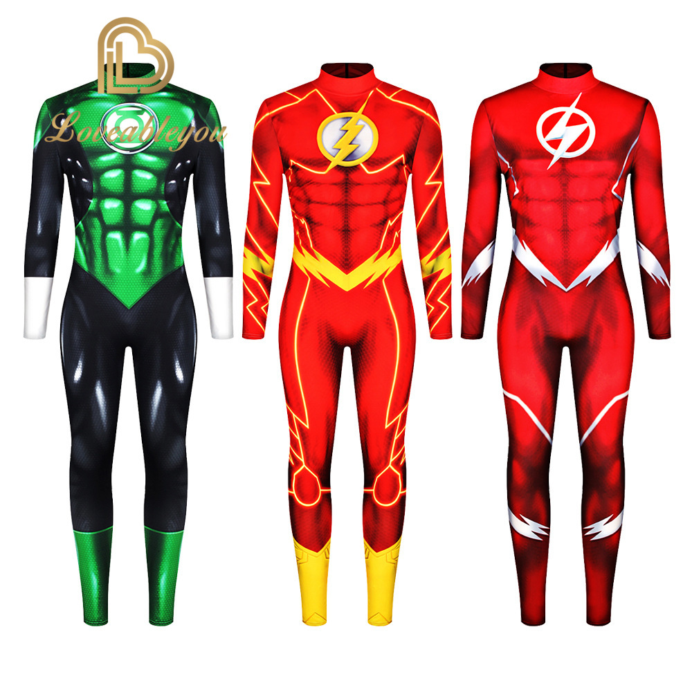 Adult Kids The <font><b>Flash</b></font> Cosplay <font><b>Costume</b></font> Superhero <font><b>Barry</b></font> <font><b>Allen</b></font> Zentai Bodysuit Suit Jumpsuits image