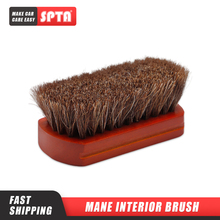 SPTA Car Interior Cleaning Brush Horsehair Bristles Brush Wooden Handle Leather Cleaning Tools  Auto Upholstery Cleaning Brush