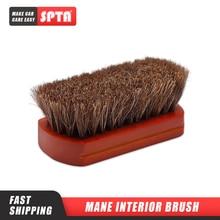 SPTA – brosse de nettoyage dintérieur de voiture, poils de cheval, manche en bois, cuir, outils de nettoyage de rembourrage automobile