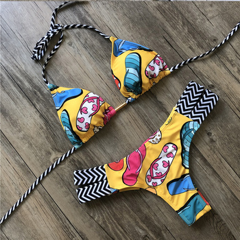 Print Swimwear String Mini Swimsuit 2020 Brazilian Bikini New Lace-up Beach wear Sexy Halter Swimsuit Women Thong Micro Bikini 4