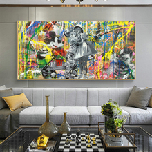 Street Graffiti Art Boy Kiss Girl Oil Painting on The Wall Canvas Posters and Prints Cuadros Wall Picture for Living Room Decor bartlett frederick orin the wall street girl