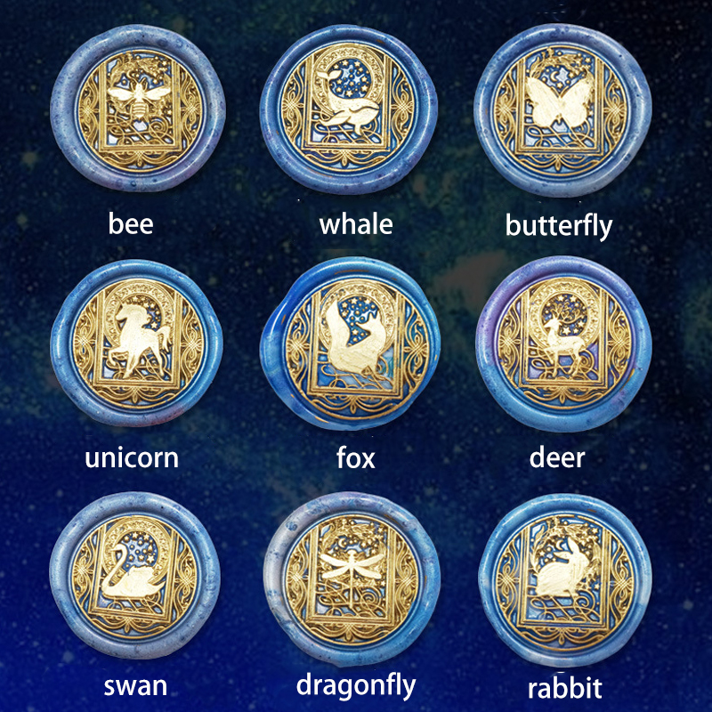 Animal Wax Seal Stamp Star Sky Series Wax Stamp Rabbit Swan Cat Whale Butterfly Dragonfly Sealling Wax Sellos Wood Handle Tool