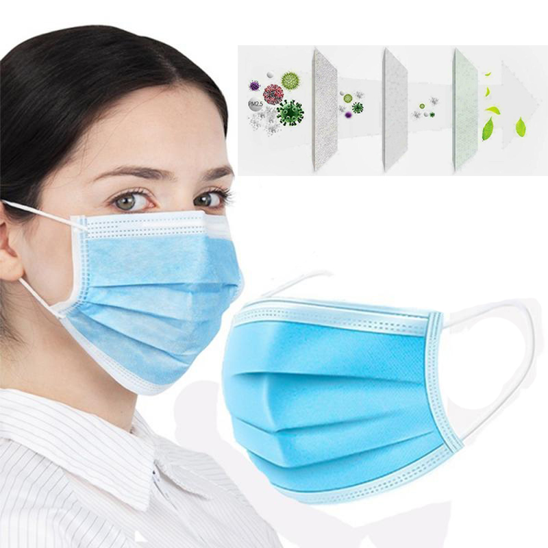 20/30/50/100 Pcs 3 Layer Non-woven Dust Thickened Waterproof Meltblown Cloth Mouth Nose Face Mask Mascara Fast Send Women Men