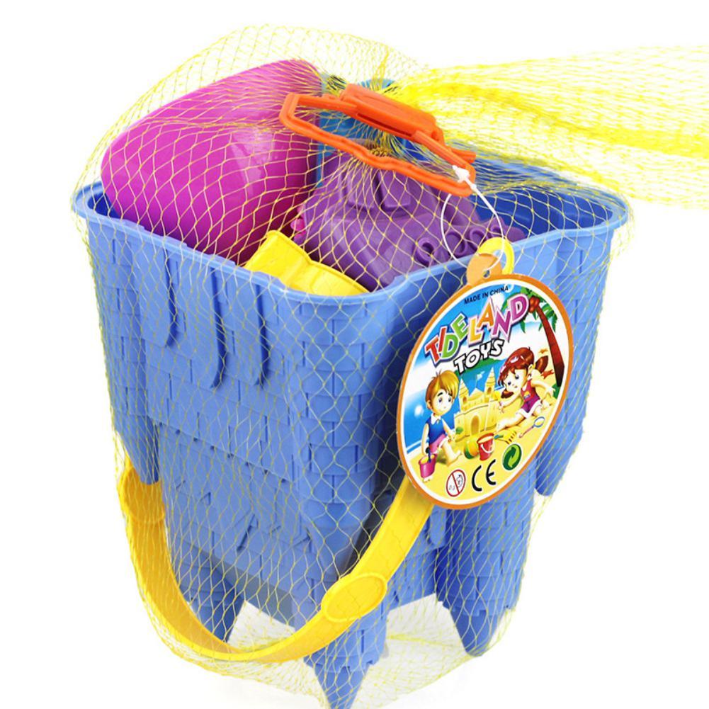 None 8Pcs Kids Simulate Castle Shape Bucket Spade Shovel Water Tools Sand Beach Toys Random Style