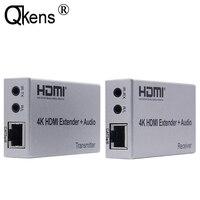 4K HDMI 익스텐더 100M R/L 오디오 출력 HDMI 신호 확장 IR 컨트롤 Cat5E CAT6 RJ45 이더넷 LAN 케이블 변환기 TX To RX