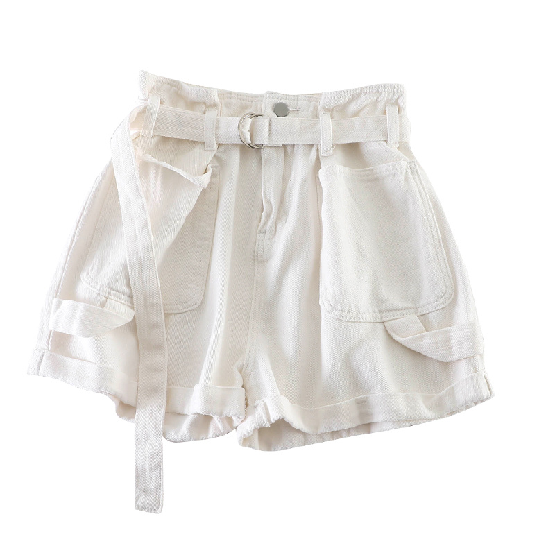 H7a3c065b643642a5b5d2eade42ae938aN - Retro Denim Shorts Women Spring Summer Wide Leg Shorts With Belt Casual Hotpants Pink White Jeans High Waist Women Shorts C6129