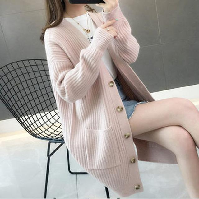 Kobiety sweater2019Autumn/zima moda kobiety swetry rozpinane z długim rękawem przycisk sweter kobiety dorywczo stałe długie kobiety sweter 5784 50