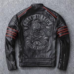 Image 2 - Yr! frete grátis, vendas. preto masculino jaqueta de couro genuíno. casaco de couro. curto magro crânio motociclista do motor jaquetas, mais tamanho