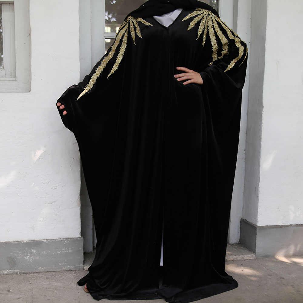 ベルベットアバヤ着物 Terciopelo Mujer ヒジャーブイスラム教のドレス女性のトルコドレスイスラム服サウジアラビアカフタンドバイカフタン Djellaba