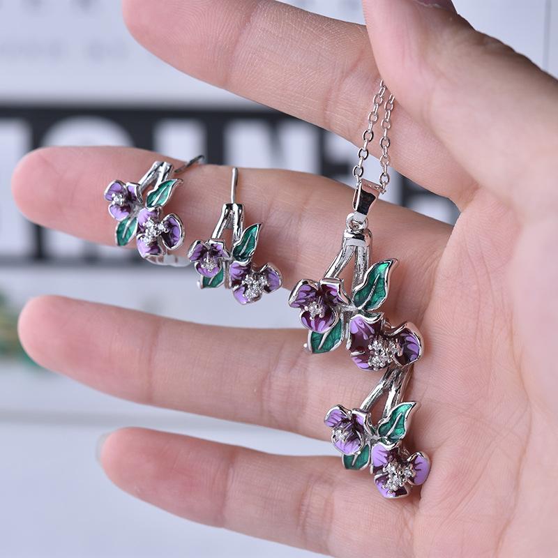 Fashion Silver Color Necklace & Earrings & Rings Set Jewelry Women Vintage Enamel Epoxy Flower Luxury Wedding Jewelry