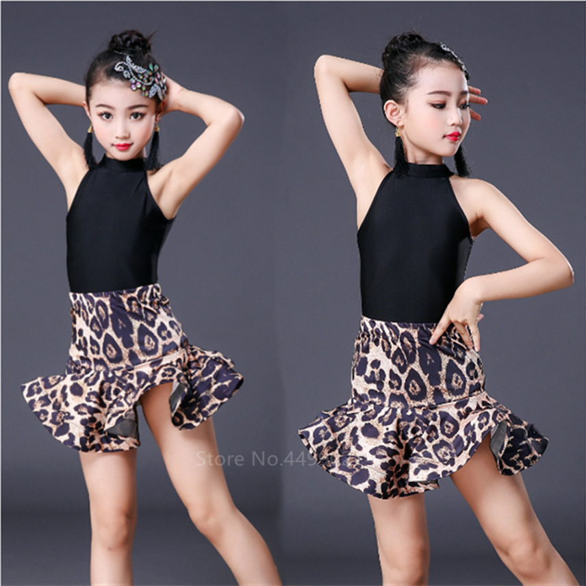 Leopard Print Girls Latin Dance Fringe Dress Kids Ballroom Competition Evening Party Stage Performance Clothing Top+Skirt Set