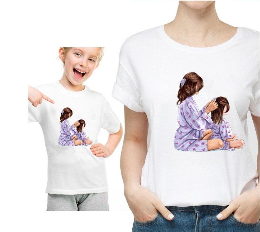 Новая семейная футболка с принтом Одежда «Мама и я» Семейные комплекты с короткими рукавами QT-1924 - Цвет: Красный