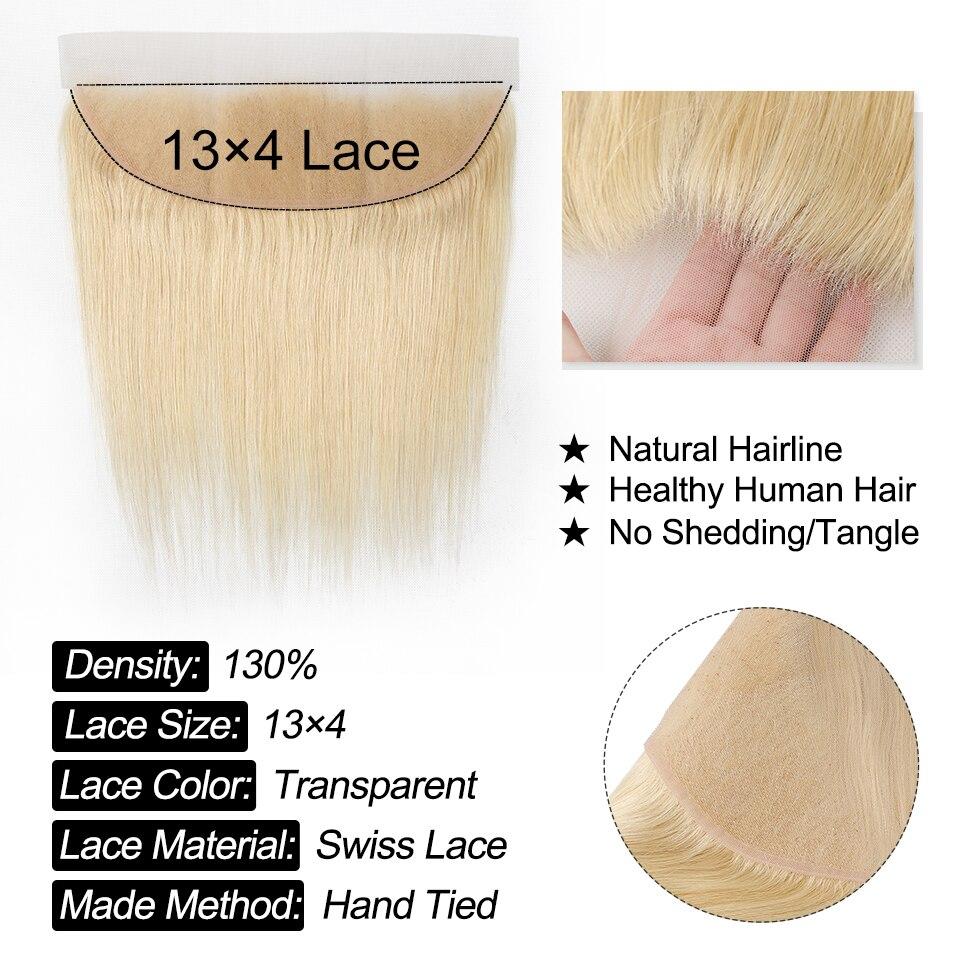 YYong 50g 613 Blonde Bundles With Frontal 5/6 Pcs   Straight Honey Blond  Ear To Ear Frontal With Bundles 6