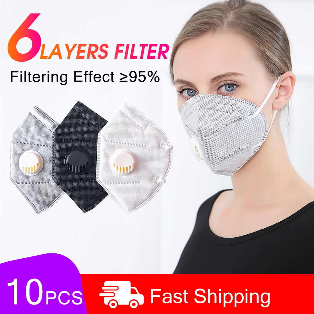 10pcs N95 Face Mask 6 Layers Filter Mouth Masks Anti Dust Virus Filter PM2.5 KN95 Respirator Protection Ffp2 Nonwoven With Valve