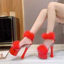 New Sandals Women Platform Model T Stage Shows 2020 Summer Pumps Sexy High Heels 15/17cm Feathers Bride Wedding Shoes Plus 34-43 sexy fashion models to shoot steel pipe shoes shoe stage shows black high heeled shoes bride wedding sandals