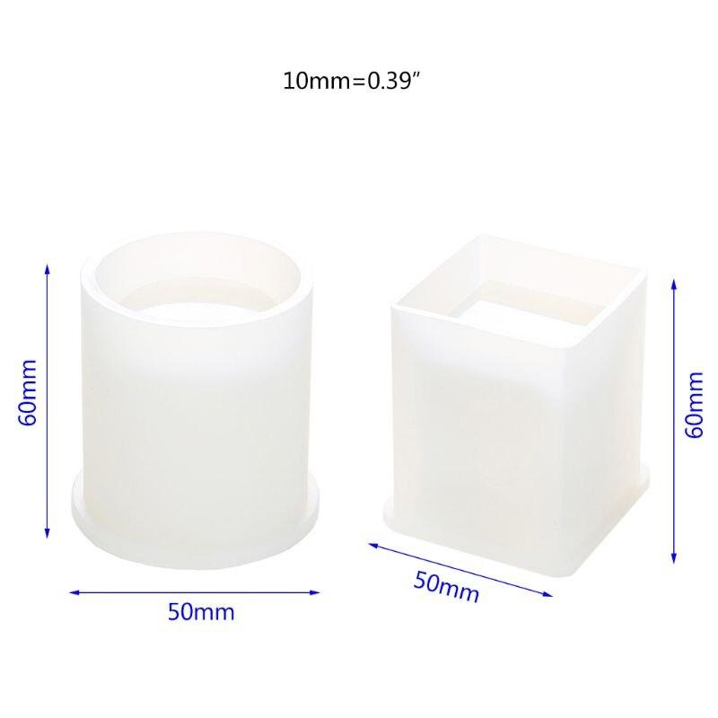 Купить с кэшбэком DIY Crystal Epoxy Mold Square Cylindrical High Mirror Pen Small Flower Pot Molds