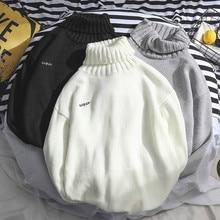 Мужчины Зима Harajuku Водолазка Свитера Письмо Корейский стиль Мода Универсальный BF Свободный Вязаный Студент Отдых Пуловеры