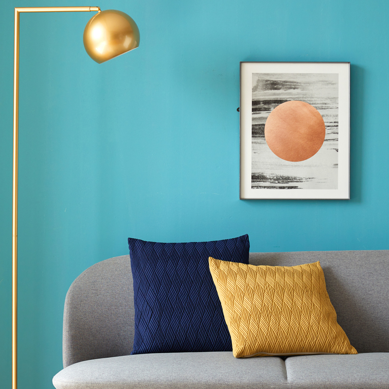 DUNXDECO Cushion Cover Square Pillow Case Artistic Simple Plain Color Classical Blue Yellow Coussin Sofa Chair Decorating