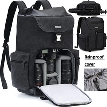 Camera Backpack Canvas Waterproof Camera Bag Outdoor Wear-Resistant Large Photography Bag for Nikon Canon Sony DSLR