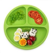 Prato de jantar de silicone para bebê, prato de alimentação sem bpa para sorriso, almoço, talheres de cozinha, frutas, pratos para jantar para crianças