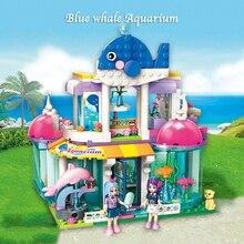 Qman 2012 mavi balina akvaryum seti arkadaşlar serisi Mini figürleri eğitici oyuncak inşaat blokları kızlar için DIY hediyeler 487 adet