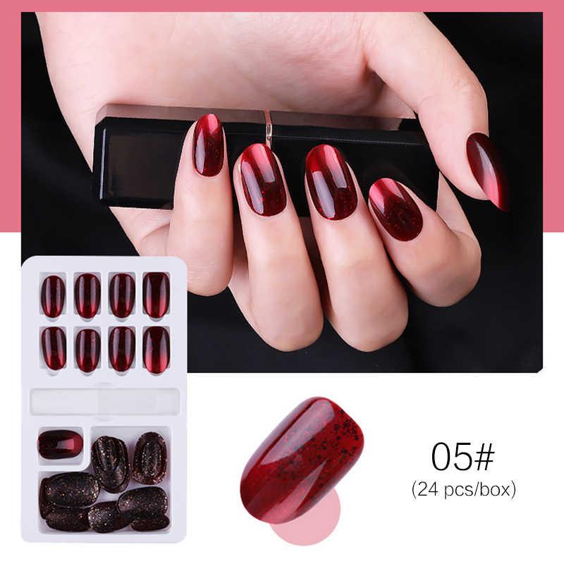24 шт Многоразовые Накладные ногти Многоразовые полное покрытие накладные ногти искусственные кончики украшения с дизайном пресс на ногти для девочек