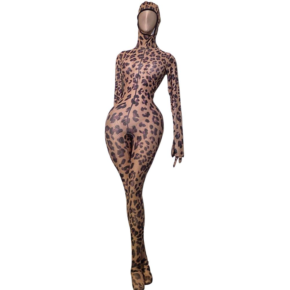 Fashion Stretch Skinny Leopard Women Jumpsuit Long Sleeve Gloves Party Rompers Sexy Nightclub Bodysuit DJ Singer Dancer Costumes