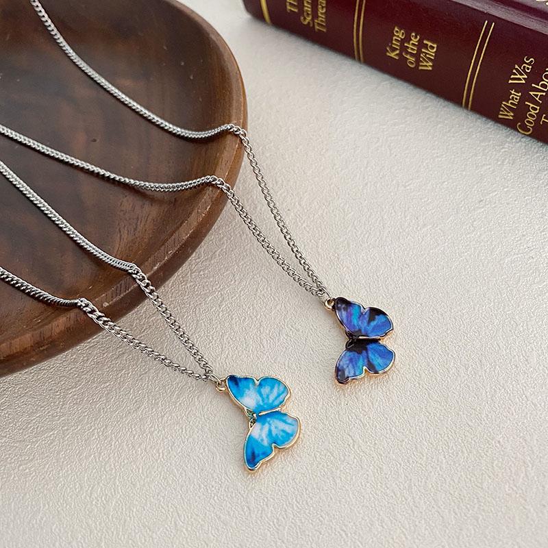 Blue Purple Butterfly Metal Necklace Women Trendy Simple Wild Pendant Dangle Clavicle Chain Jewelry