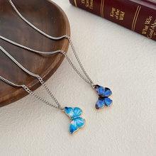 Синее фиолетовое металлическое ожерелье с бабочкой для женщин, трендовая простая подвеска с подвеской, цепочка для ключицы, ювелирное изде...