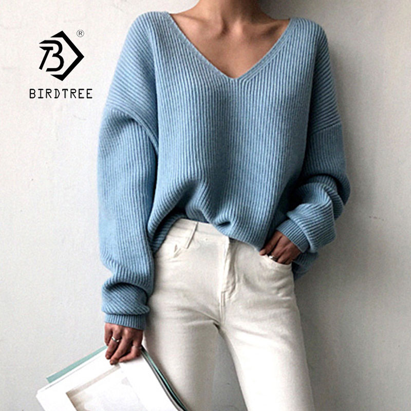 2019 Autumn New Women's Pullovers Sweater Knitting V-neck Solid Irregular Hem Wild Fashion Loose Casual Korean Tops T98318D