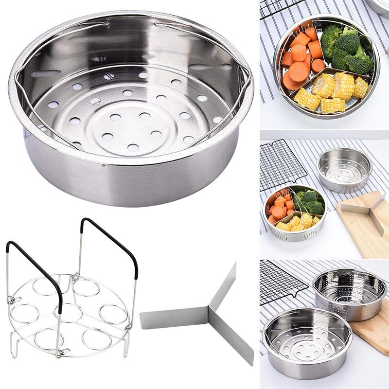 Stainless Steel Pot Steamer Basket Egg Steamer Rack Divider For Pressure Cooker Pot YU-Home