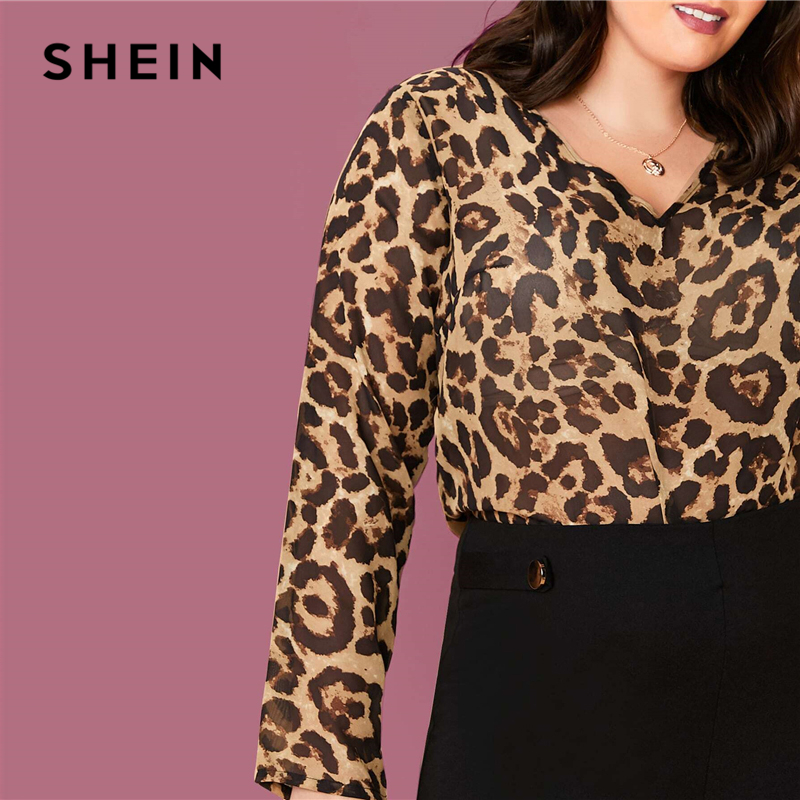 SHEIN Plus Size Multicolor Leopard Semi Sheer Top Chiffon Blouse Women Spring Summer V-neck Office Lady Casual Blouses 2