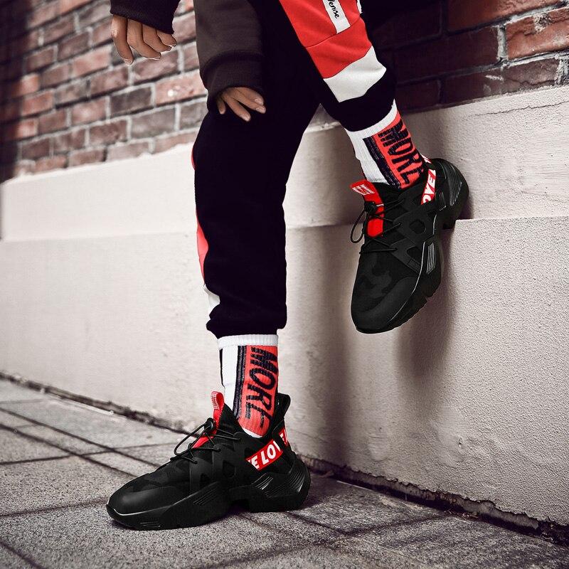 Sneakers Men Vulcanized-Shoes New Anti-Slip Black White Upper Lycra Zapatillas Trendy