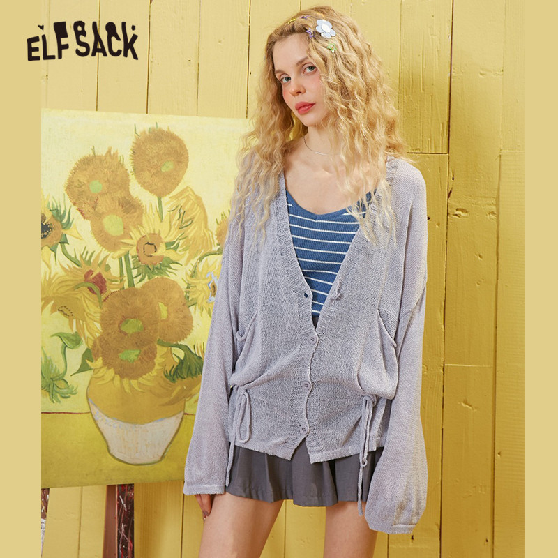 ELFSACK White Solid Minimalist Knit Casual Cardigan Women Sweaters 2020 Spring Pure Single Button Long Sleeve Ladies Daily Tops