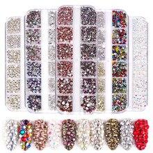 1440 шт стеклянные стразы кристалл страз перегородка смешанный размер DIY Маникюр 3D хрустальные ногти искусство стразы украшения