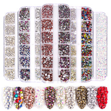 1440 pcs Glass Nail Rhinestones Crystals Strass Partition Mixed Size DIY Manicure 3D Crystal Nails Art Rhinestone Decorations
