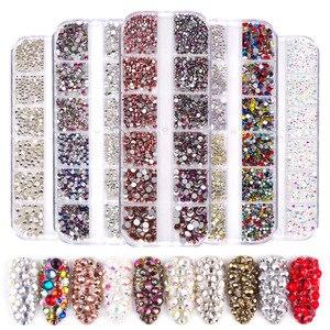 1440 pcs Glass Nail Rhinestones Crystals Strass Partition Mixed Size DIY Manicure 3D Crystal Nails Art Rhinestone Decorations(China)