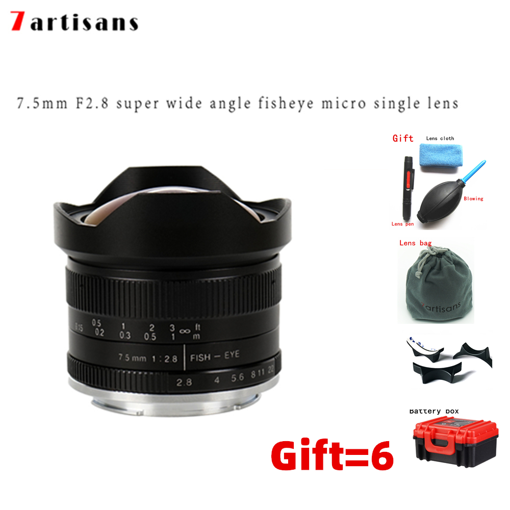 7artisans 7.5mm F2.8 Fisheye Lens 180 APS-C Manual Fixed Lens For Sony E Mount Canon EOS-M Mount Fuji FX M4/3 Mount