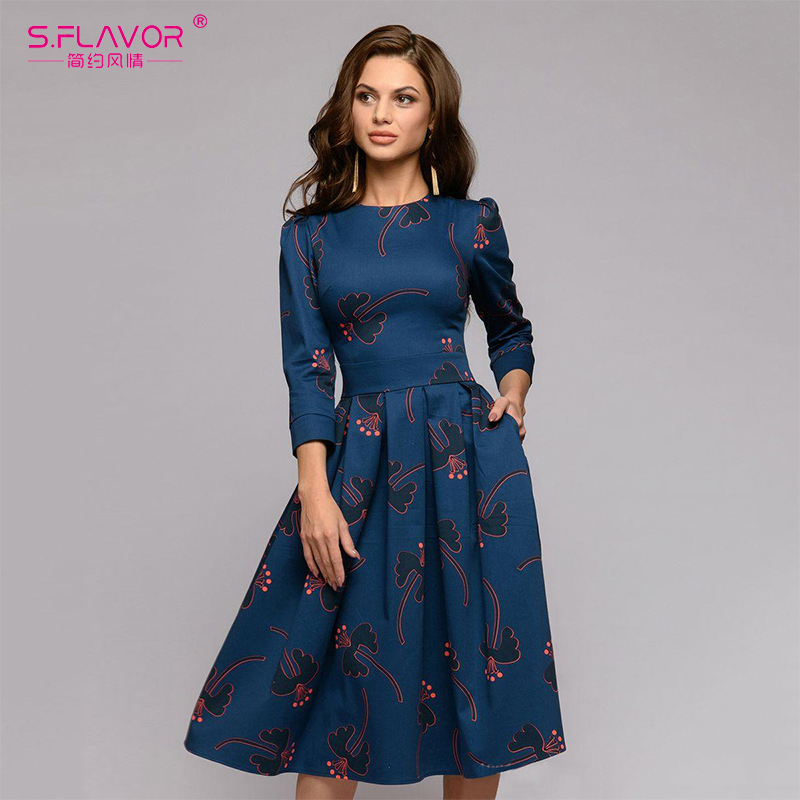 S.FLAVOR Women Flowers Printing Autumn Dress Casual 3/4 Sleeve Simple Winter Long Dress For Female Fashion Loose Party Vestidos