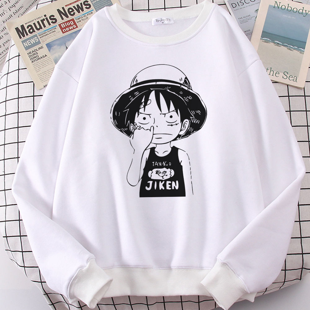 Straw Hat Man Funny Anime Print Clothes Mens Fashion Print Hoodie Autumn Fleece Sweatshirt Loose Fashion Menswear New Pullover