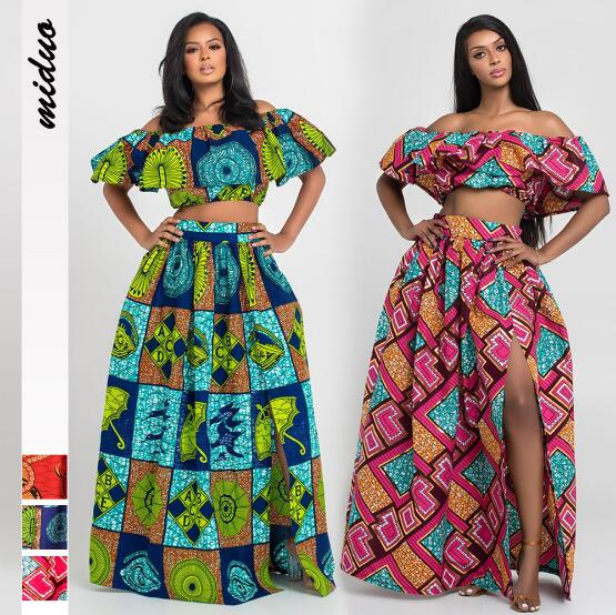 News African Tops Skirts Jumpsuits Shoulder Off Print Ethnic Sexy Bodysuit Ankera Festival Skinny Suit Outfit African Sets