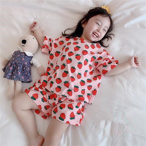 Пижамный комплект летний для девочек 2-10 лет, хлопковая одежда для сна с короткими рукавами для маленьких девочек, 2021