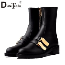 DORATASIA New Big Size 33-41 Luxury Brand Booties Ladies Genuine Leather Ankle Boots Women 2019 Casual Decorating Shoes Woman