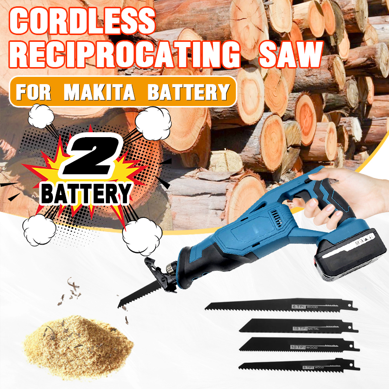 18V Electric Saw Machine Lithium Battery Rechargeable Saber Saw Reciprocating Saw 2 Makita Battery 1Charger Portable Logging Saw