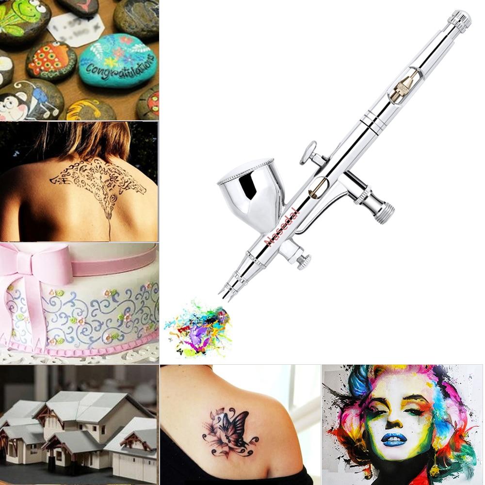 Tools : Nasedal Dual-action 9cc 0 2mm Mini Airbrush Paint Spary Gun Nail Art Sprayer Makeup Tool Cake Decor Airbrush Tattoo Mode Paint